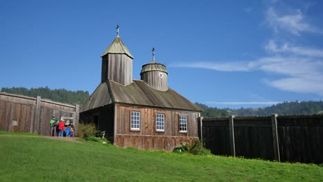 California-Fort-Ross-Russian-Fur-Trading-Post-Church-And-Stockade-With-People