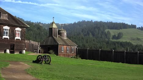 California-Fort-Ross-Cannon-And-Russian-Church-Zooms-In