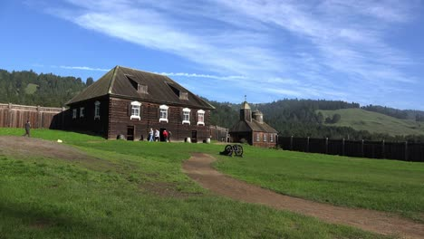 California-Fort-Ross-View-With-Kuskov-House-And-Church