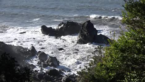 California-Patricks-Point-State-Park-High-Waves-Break-On-Black-Rocks