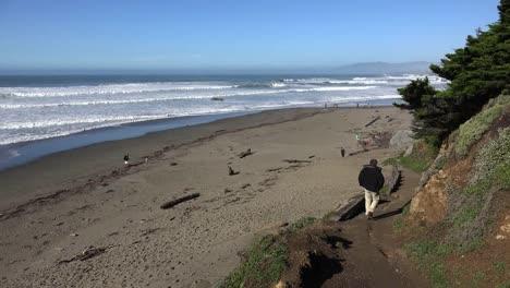 California-Man-Walking-Down-Path-Toward-Beach-Near-Salmon-Creek