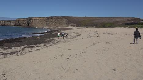 California-Santa-Cruz-Man-On-Sandy-Beach-Pan-And-Zoom
