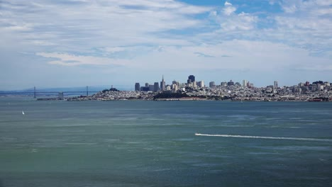 California-Distant-View-Of-San-Francisco-With-Small-Boat