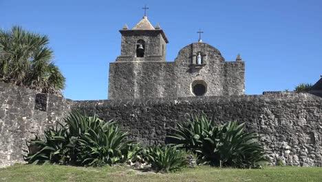 Texas-Goliad-Presidio-La-Bahia-With-Maguey-Plant-By-Wall