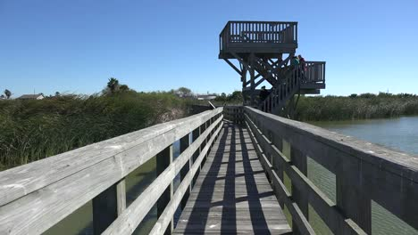 Texas-Port-Aransas-Boardwalk-And-People-Leave-Birding-Tower