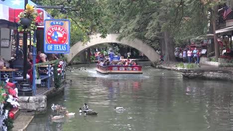 Texas-San-Antonio-River-Walk-Barge-On-River