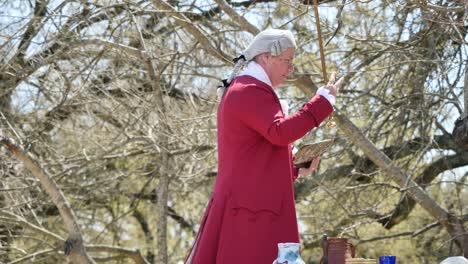 Virginia-Colonial-Williamsburg-Man-With-Cane-And-Book