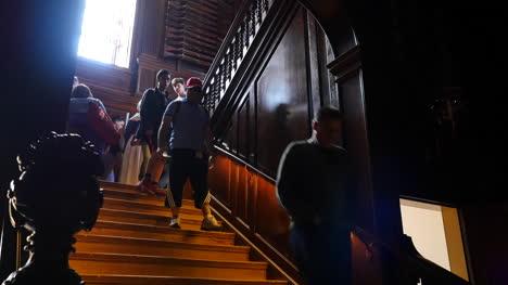 Virginia-Colonial-Williamsburg-People-Walk-Down-Stairs