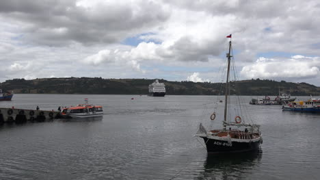 Chile-Chiloe-Castro-Sailboat-And-Cruise-Ship