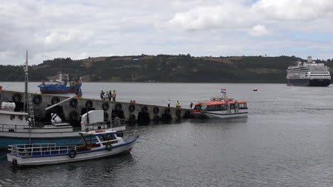 Chile-Chiloe-Dock-At-Castro-Pans-To-Cruise-Ship