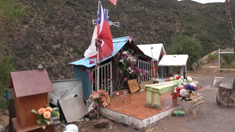 Chile-Roadside-Shrine-With-Flag