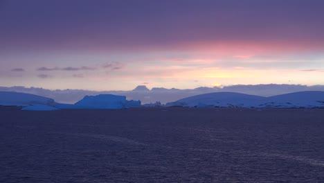Antarctica-Icebergs-At-Twilight-Zoom-In