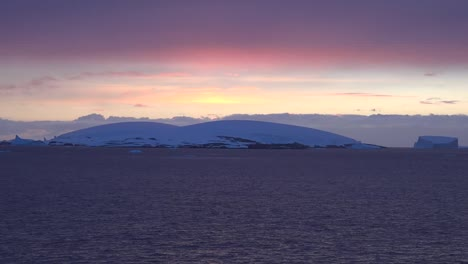 Antarctica-Icy-Landscape-Under-Pink-And-Blue-Sky