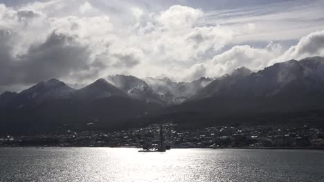 Argentina-Ushuaia-Backlit-View-With-Birds