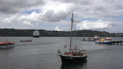 Chile-Chiloe-Castro-Sailboat-In-Harbor