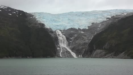 Chile-Glacier-Alley-Passing-Glacial-Waterfall