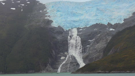 Chile-Glacier-Alley-Zooms-Out-And-Pans-Waterfall