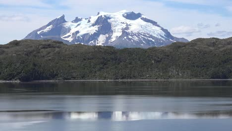 Chile-Mount-Burney-Rising-Beyond-Hills-Pan-And-Zoom