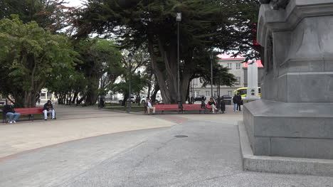 Chile-Punta-Arenas-Zooms-To-Man-On-Park-Bench