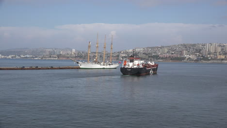 Chile-Valparaiso-Ship-Leaving-Past-Schooner