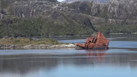 Chile-Zoom-To-Wrecked-Ship-In-Fjord