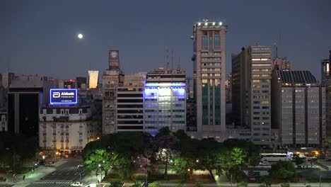 Argentina-Buenos-Aires-Downtown-In-Evening-With-Moon