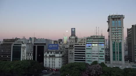 Argentina-Buenos-Aires-Evening-With-Moon-Zooms-In