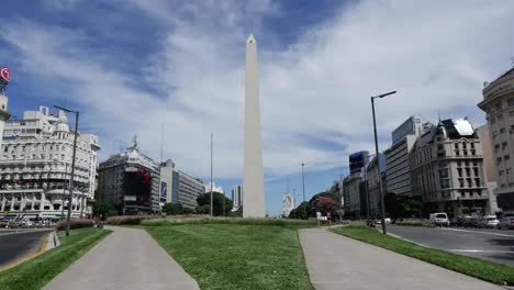 Argentina-Buenos-Aires-Obelisk-And-Sidewalks-Zooms-Out