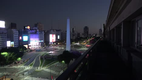 Argentina-Buenos-Aires-Obelisk-From-Balcony-In-Evening