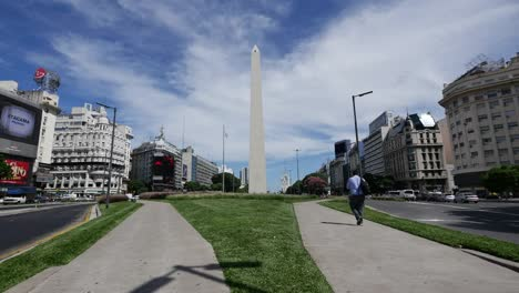 Argentina-Buenos-Aires-Obelisk-With-Man-Walking