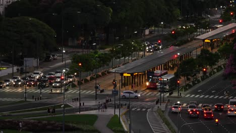 Argentina-Buenos-Aires-Street-Traffic-At-Night-Time-Lapse