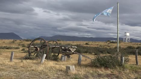 Argentina-Patagonia-Flag-And-Old-Wagon
