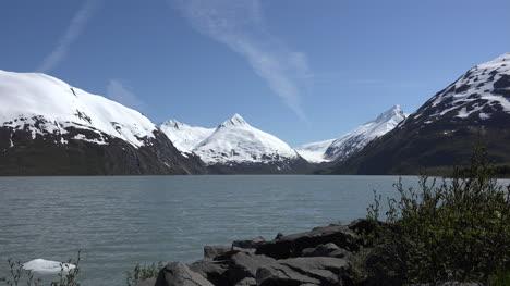 Alaska-Portage-Lake-Zoom-To-Snowy-Peak