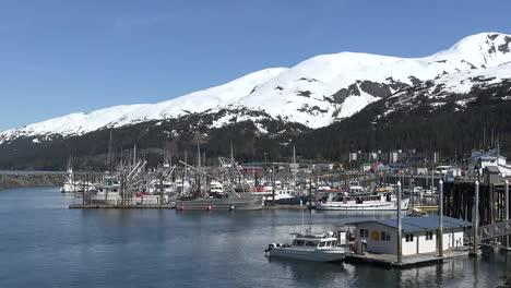 Alaska-Whittier-Snow-On-Mountains-Above-Harbor-Pan