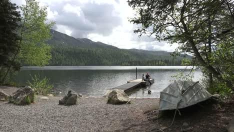 Alaska-Dog-Swims-To-Lake-Shore