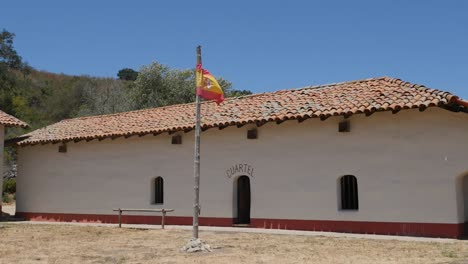 California-Lompoc-Mission-La-Purisima-Concepcion-Quarters-With-Spanish-Flag