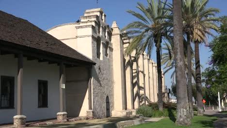 California-Mission-San-Gabriel-Arcangel-Side-With-Palms