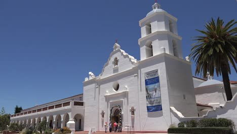 California-Oceanside-Mission-San-Luis-Rey-De-Francia-Colonnade-People-At-Entrance