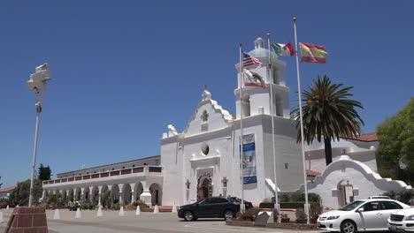 California-Oceanside-Mission-San-Luis-Rey-De-Francia-Front-With-Cars