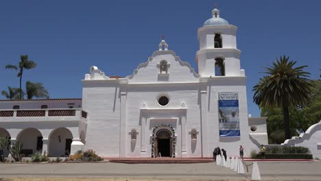 California-Oceanside-Mission-San-Luis-Rey-De-Francia-Front-With-People