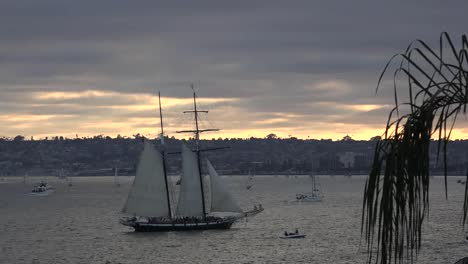 California-San-Diego-Ship-Sailing-At-Sunset