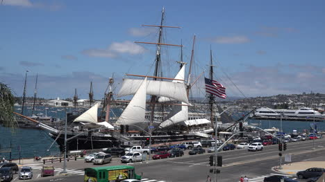 California-San-Diego-Waterfront-Traffic-And-Sailing-Ship