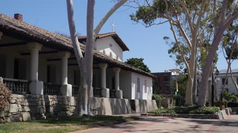 California-San-Luis-Obispo-Mission-Colonnade-With-Eucalyptus