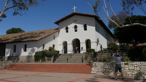 California-San-Luis-Obispo-Mission-Front-With-Tourists-And-Pedestrians