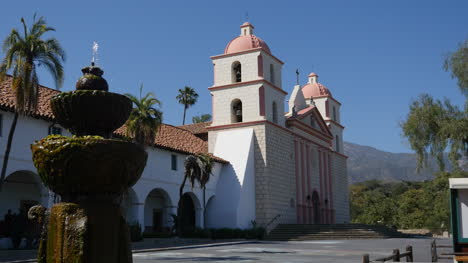 California-Santa-Barbara-Mission-Front-With-Fountain