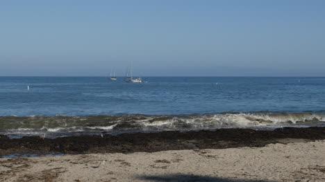 California-Santa-Cruz-Beach-With-Boats-In-Bay