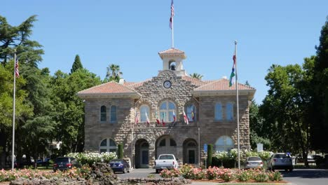 California-Sonoma-City-Hall-Flags-Parked-Cars