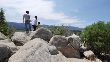 California-Family-On-Rocks-At-Yosemite