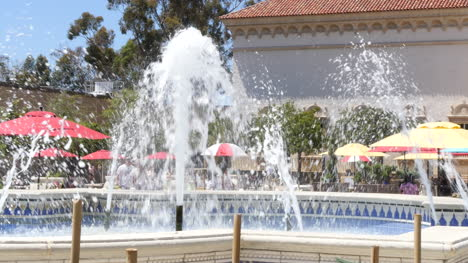 California-Fountain-With-People-And-Umbrellas