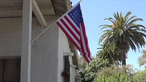 California-Fremont-Mission-San-Jose-Building-With-Flag-Tilt-And-Zoom
